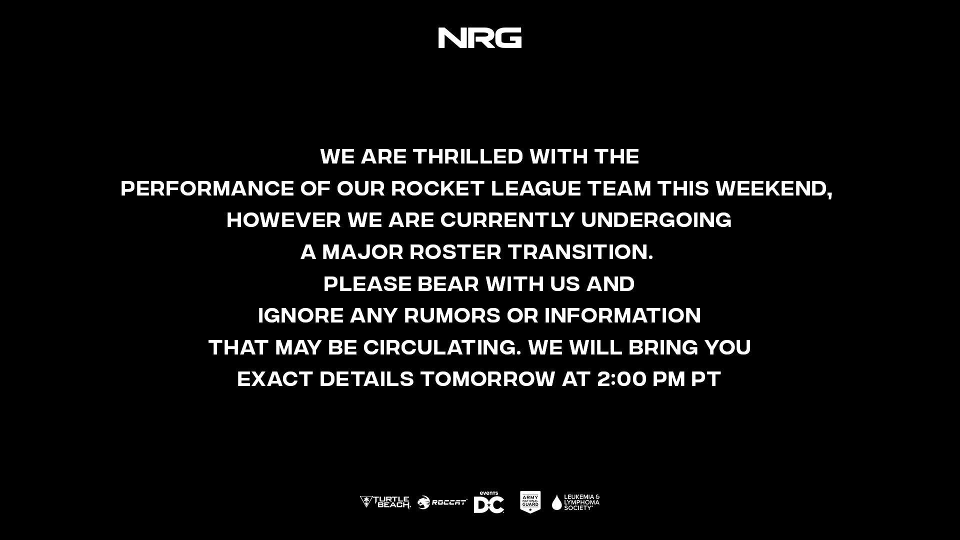 Rocket League espor takımı NRG'de kadro değişikliği